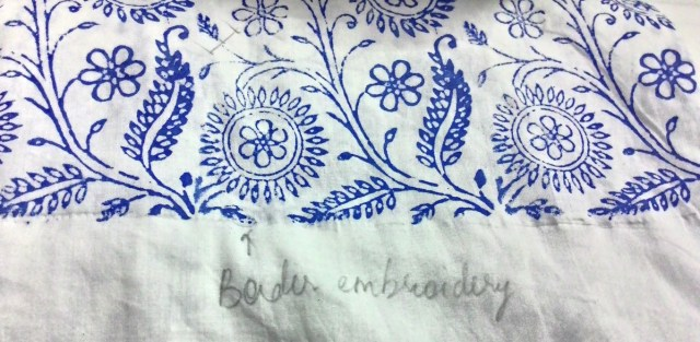 Border embroidery for Chikankaari, Lucknow