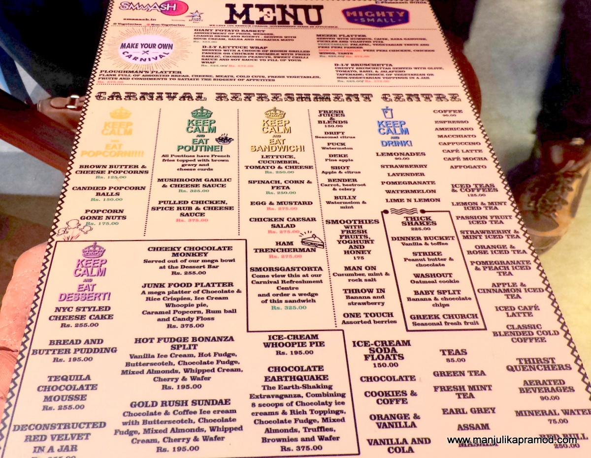 SMAAASH,Mighty Small Cafe,Menu,Noida