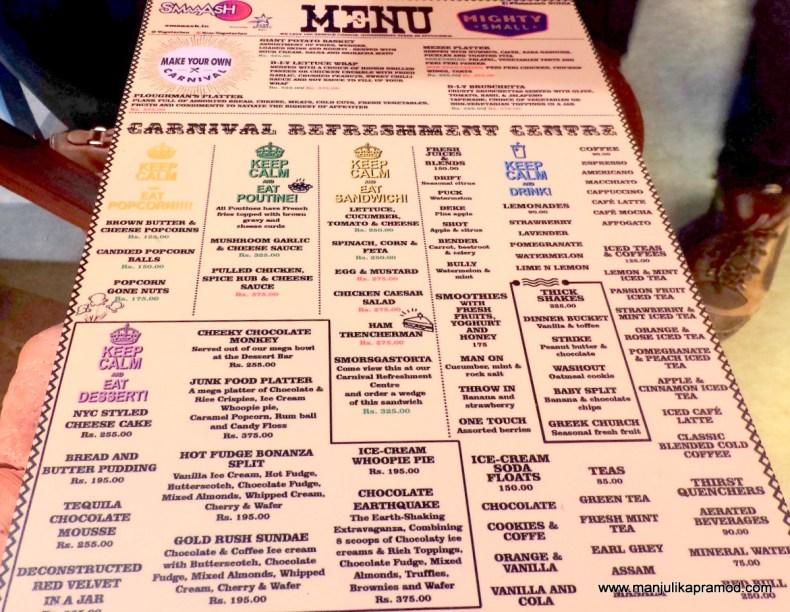 SMAAASH,Mighty Small Cafe,Menu,Noida