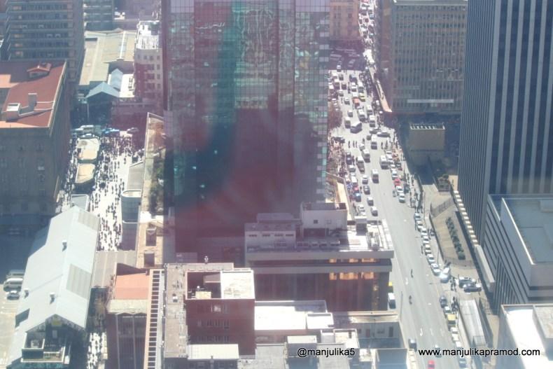 The busy streets of Johannesburg near Carlton Center