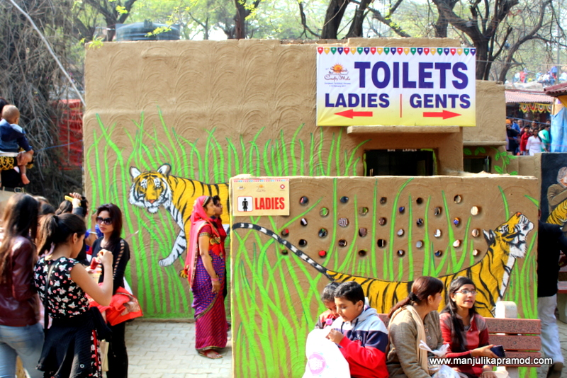 The washrooms and toilets were painted this way