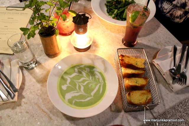 Chilled farm fresh green peas and mint soup, Farm to fork menu