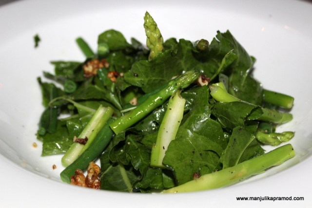 Green asparagus, runner beans, swiss chard and walnut with honey and lime