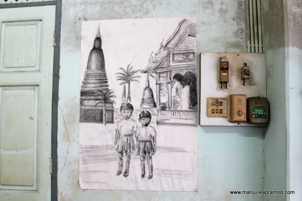 Pencil work in one of the houses