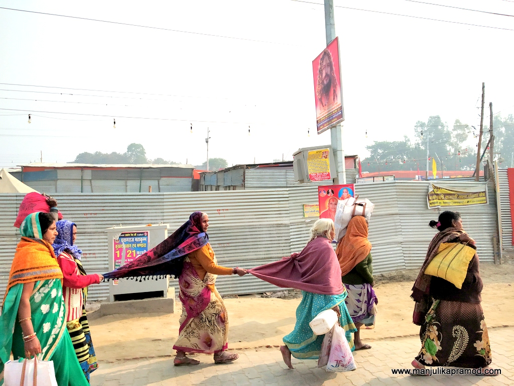 3 women doing their best to not get lost in Kumbh