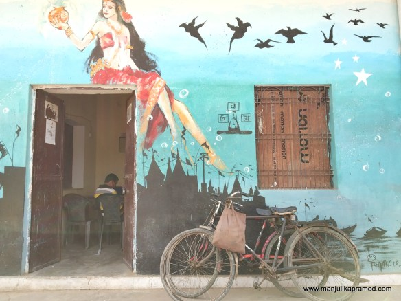Wall art on houses in Varanasi