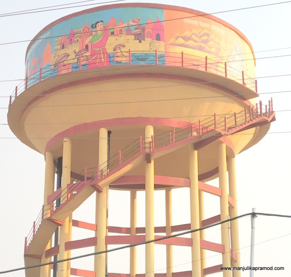 A water tank in Varanasi which has been made bright and beautiful with street art.