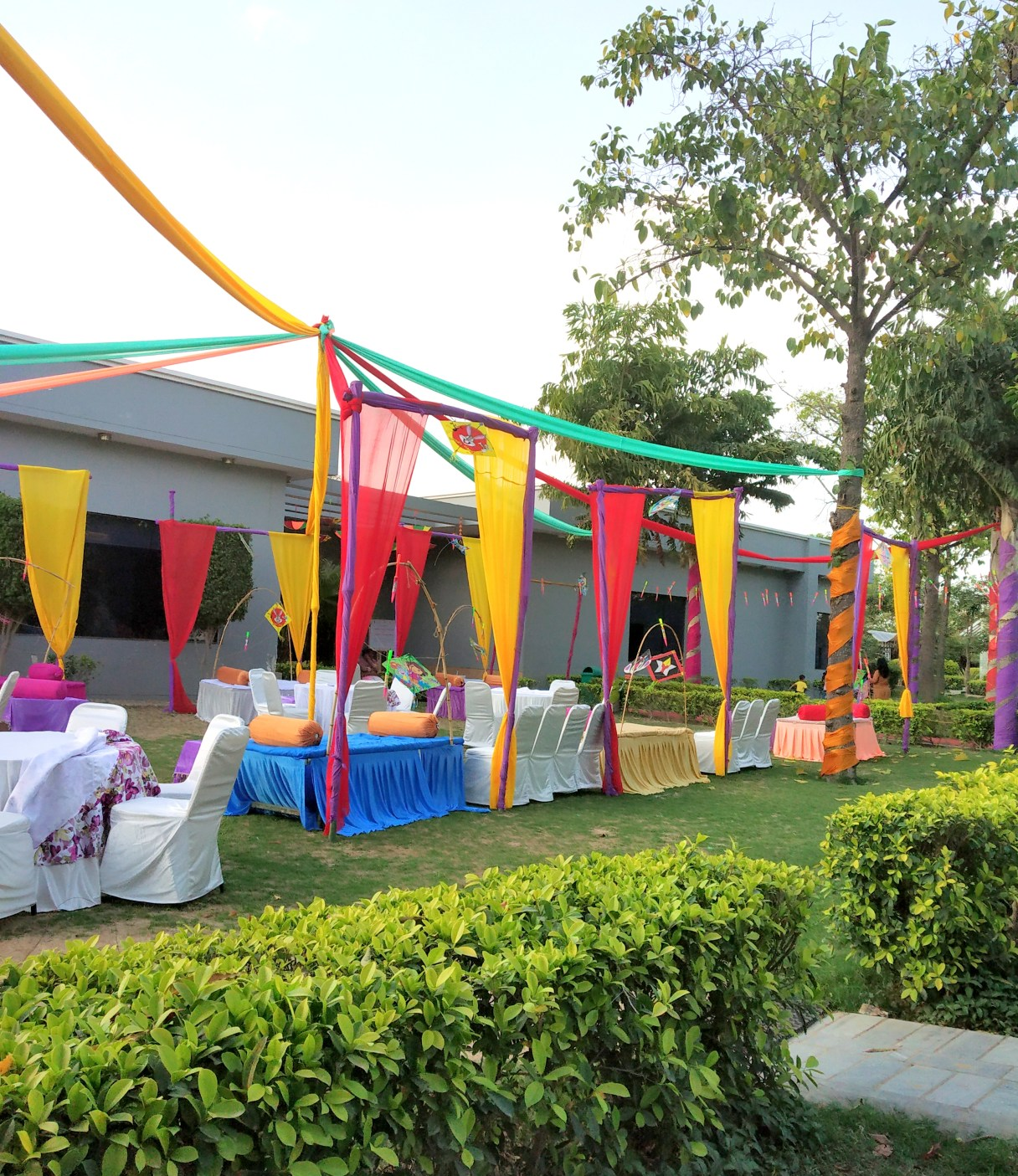 Holi decorations in the front lawn