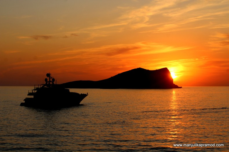 One of the most beautiful sunset in Ibiza. This picture was taken from Sunset Ashram.