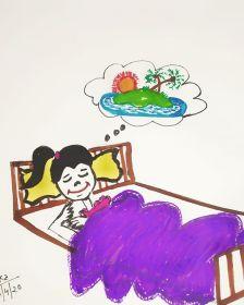 Illustration showing a traveller dreaming of travel