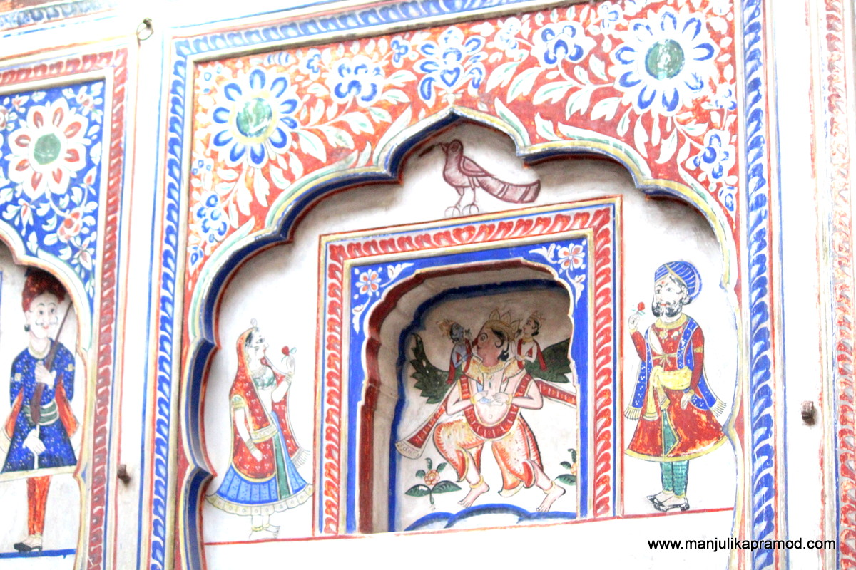 Such gorgeous wall paintings of Shekhawati