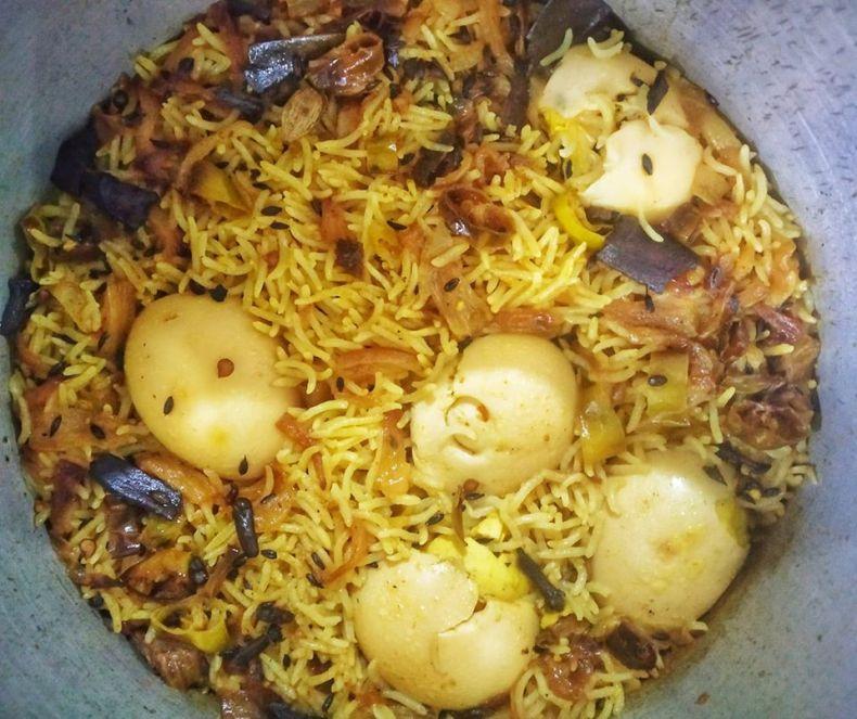 Cooking Egg Biryani during Lockdown