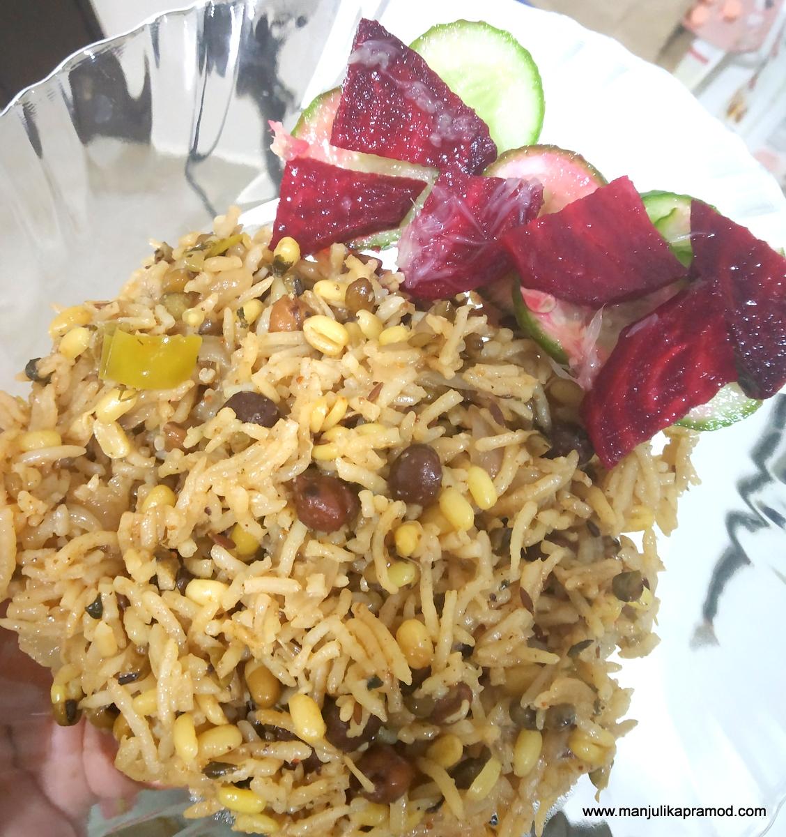 Sprouts biryani -Lockdown dinner