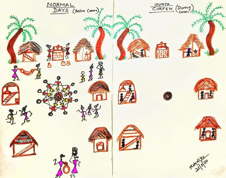 Warli tribal village showing social distancing