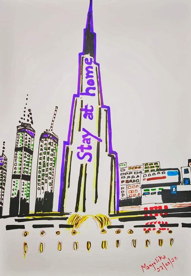 Burj Khalifa says Stay at Home- The Art work!