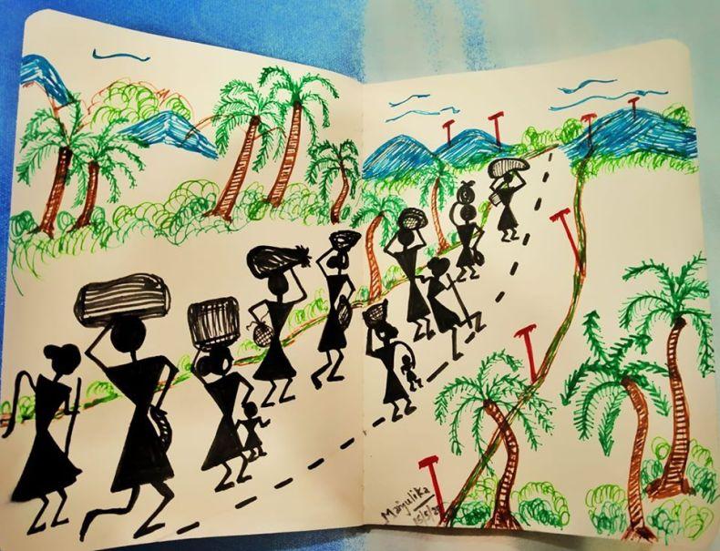 Warli artwork - Covid related art work -UNITED against Corona!