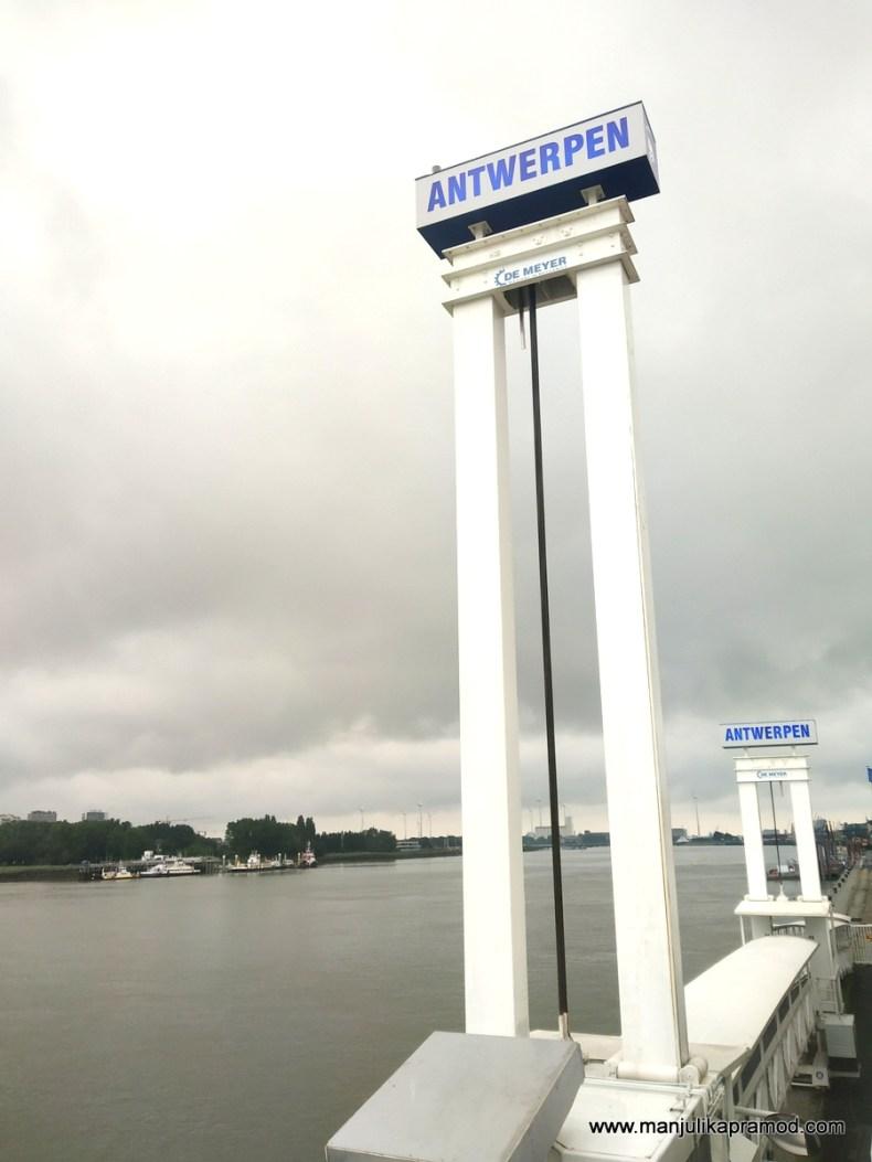 The bridge in Antwerpen, near Antwerp port