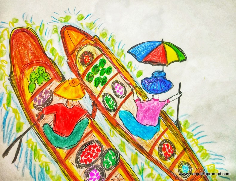 Thailand drawings - Floating market!