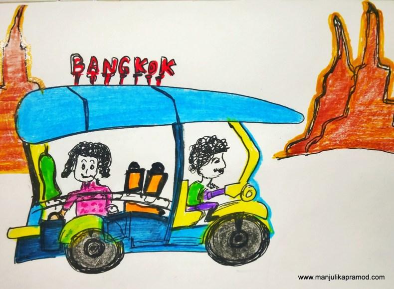 Thailand drawing showing shopping in Bangkok