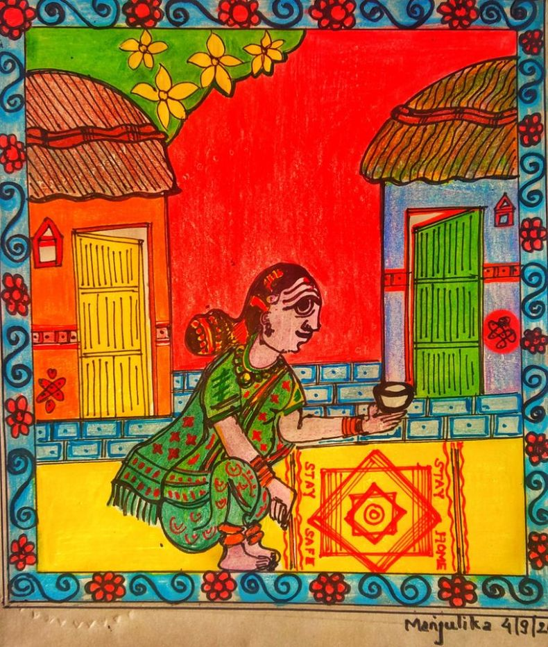 Covid Art -Cheriyal Painting