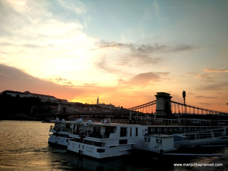 Sunset at Danube in Budapest