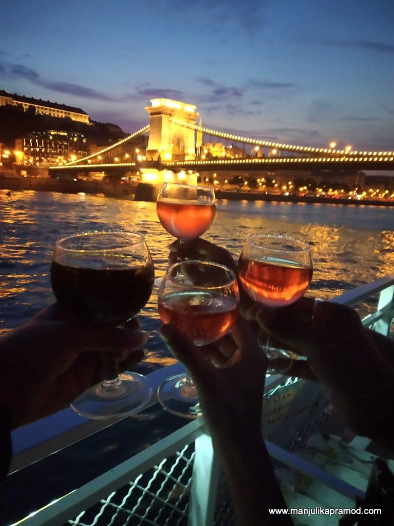 Raising a toast to the Széchenyi Chain Bridge in Budapest
