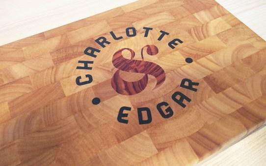 Wedding gift - inlay cutting board