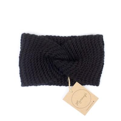 Bandeau croisé tricoté en laine et cachemire, noir
