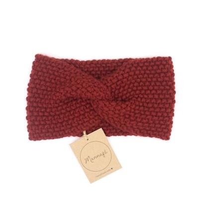 Bandeau tricoté en laine et cachemire, rouge rouille