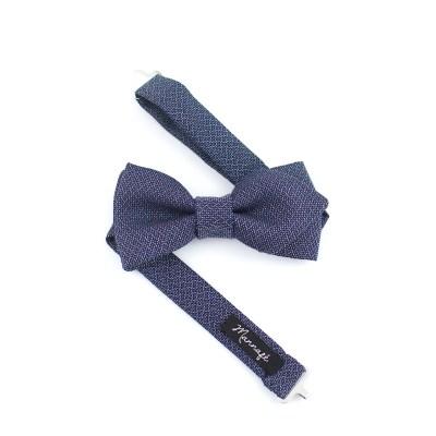 Noeud papillon en jacquard laine et coton bleu