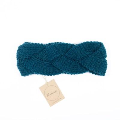 Bandeau tressé, tricoté en laine mérinos, vert canard