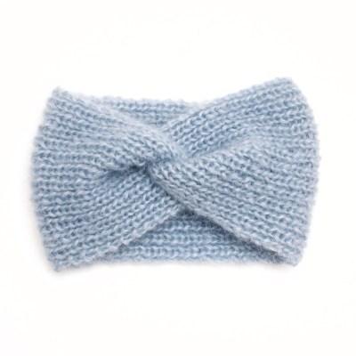 Bandeau tricoté en mohair et soie, bleu glacial