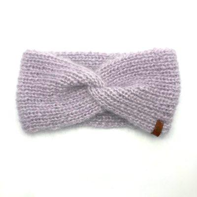 Bandeau tricoté en mohair et soie, parme