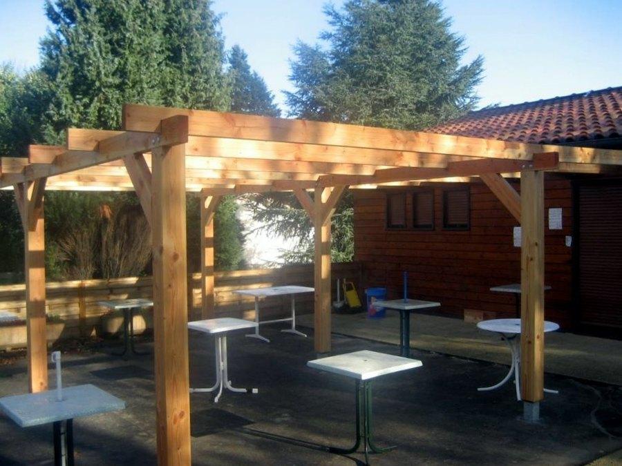 Pergola bois autoclave billot table de ferme realisation artisanale