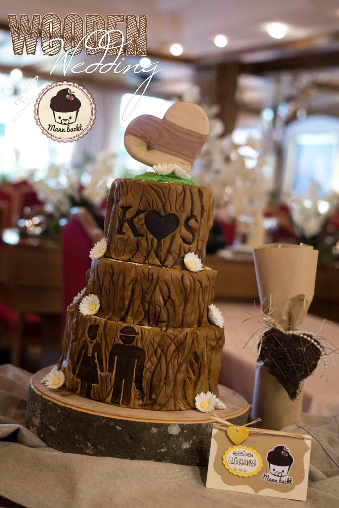 Eine ganz besondere Hochzeitstorte in Holzoptik