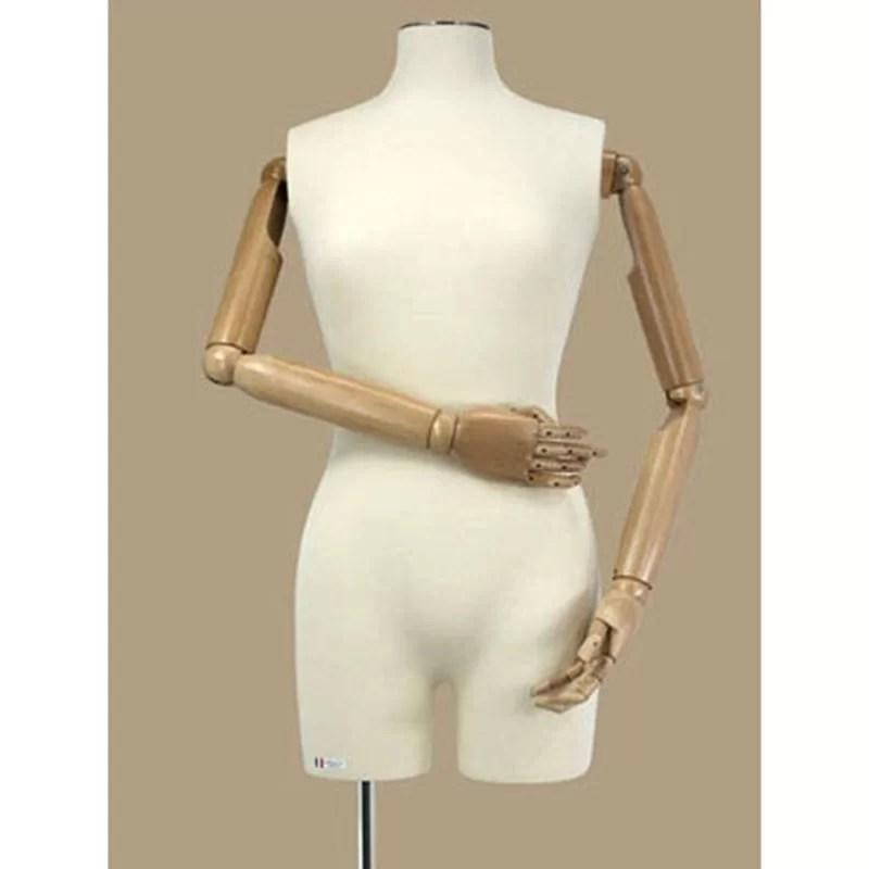 mannequin buste couture femme avec bras en bois