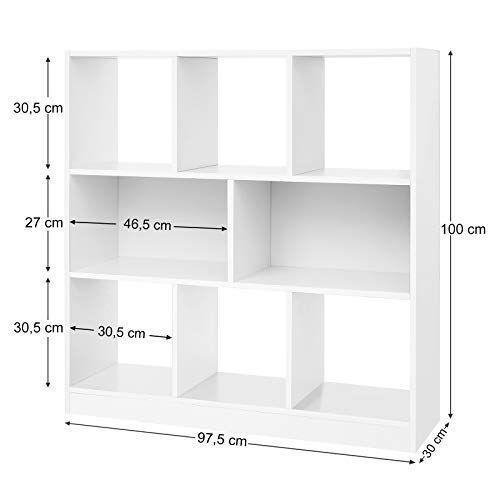 bibliotheque en bois etagere de rangement blanche