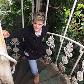 Caitlin in a palm-house in the UK