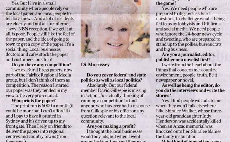 Article in The Australian June 12, 2017