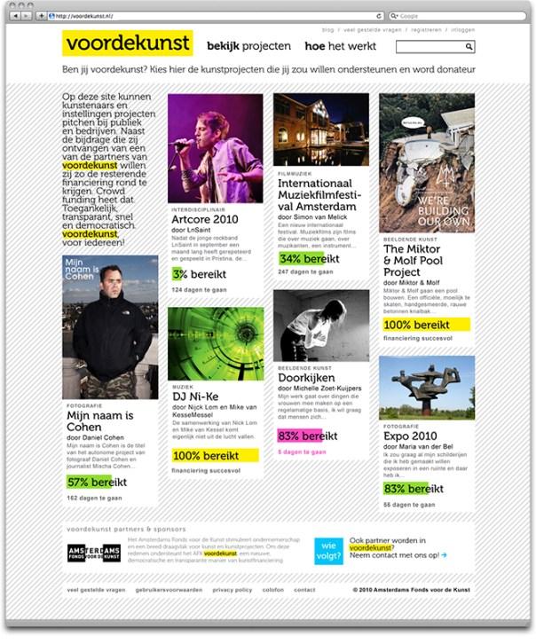 voordekunst.nl - homepage screenshot