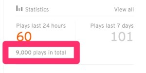 9000 plays on soundcloud only stats