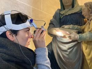 étude polychromie statue pierre polychromée Education de la Vierge église Baule Loiret