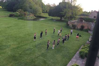dancers on lawn