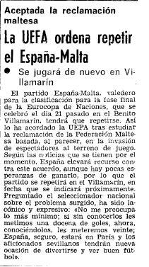 1983 La Uefa ordena repetir el España-Malta