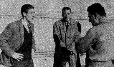 El jugador Enrique Mateos, Martim Francisco y Ernesto Pons
