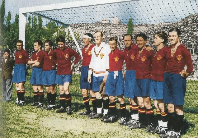 La selección española que derrotó a Inglaterra 4-3 en el Metropolitano en 1929