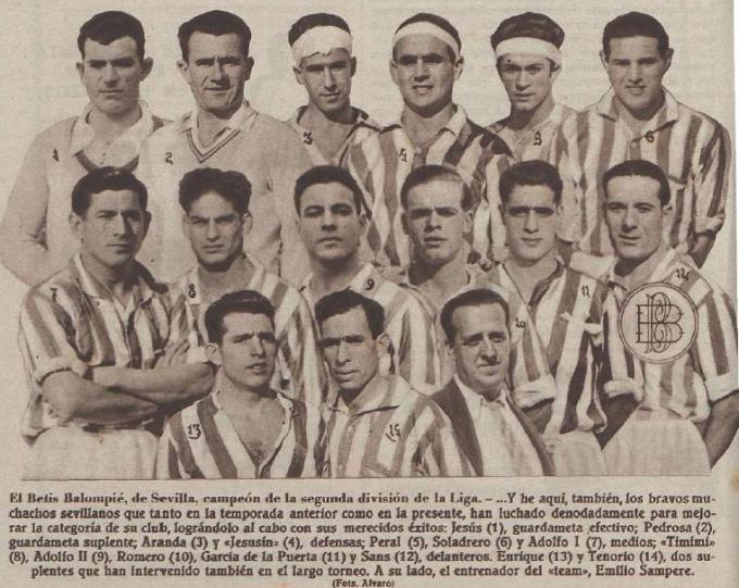 El Betis campeón de segunda en 1932