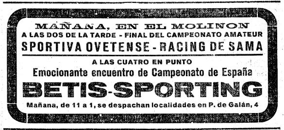 Anuncio en prensa del Sporting-Betis de 1934