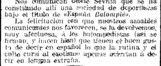 Hoy hace 111 años. Primera mención en prensa del España Balompié.