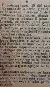Hoy hace 96 años. Asamblea de Socios y elección de Ramón Navarro como presidente.